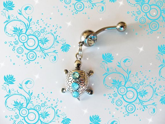 Sale-Belly Ring, Tibetan Silver Mini Baby Turtle With Blue Crystals, Belly Button Ring, Belly Button Jewelry, For Her