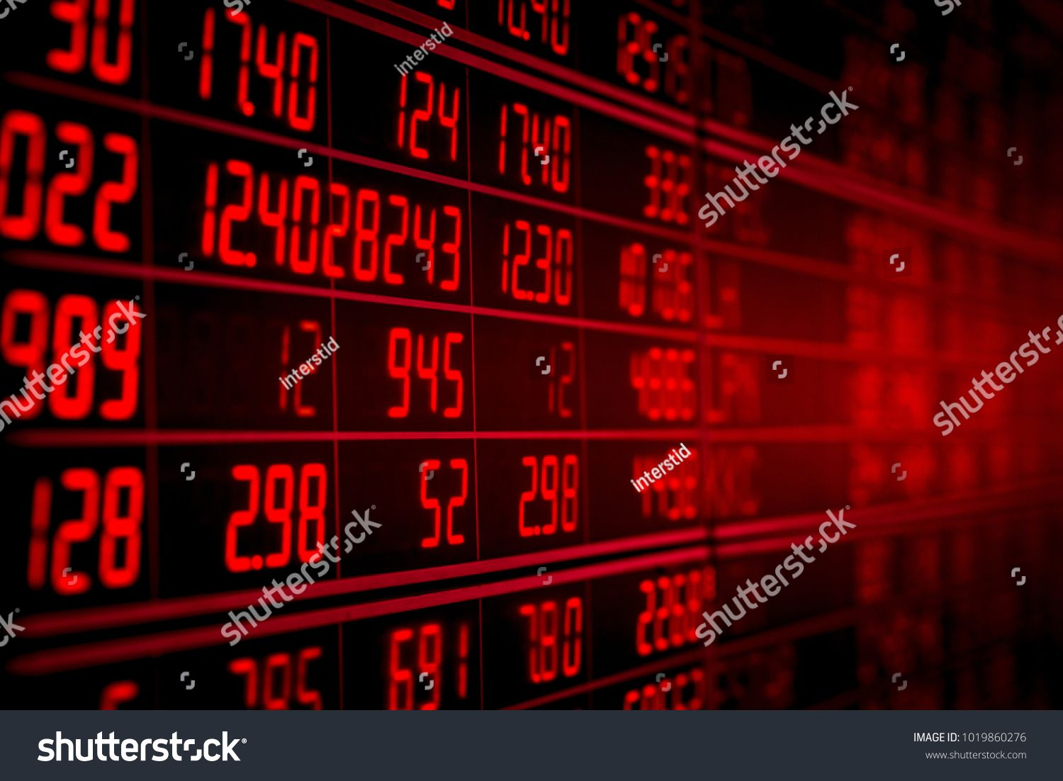 Display Of Red Electronic Board Of Stock Market Quotes Down Trend Or Recession Concept Board Stock Ele Stock Market Quotes Infographic Templates Concept Board
