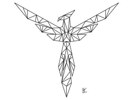 origami phoenix tatto xd phoenix tattoo design. Black Bedroom Furniture Sets. Home Design Ideas