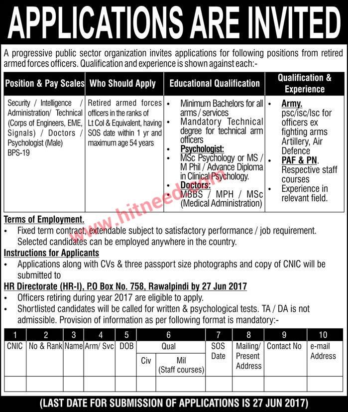 Public Sector Organization, Retired Armed Forces Officers Jobs - chief executive officer job description