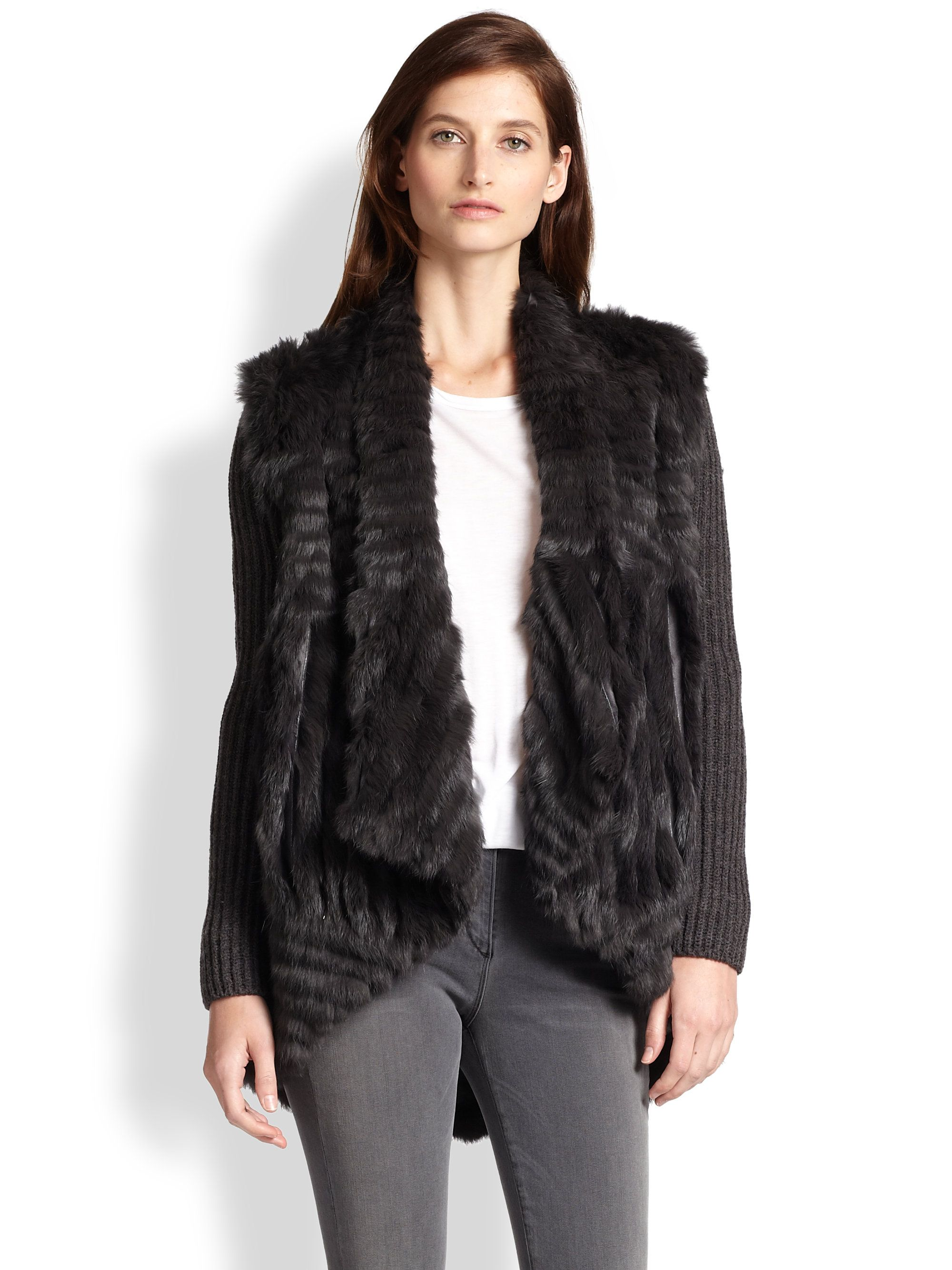 ea954cc6714f53 Haute hippie Detachable Knit-Sleeved Rabbit Fur Jacket in Black (GRAPHITE)  | Lyst