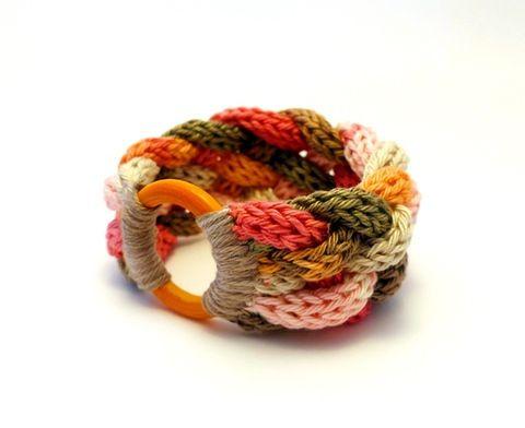 kötött karkötő beige, rózsaszín és narancssárga színekben, Ékszer, óra, Karkötő, Meska