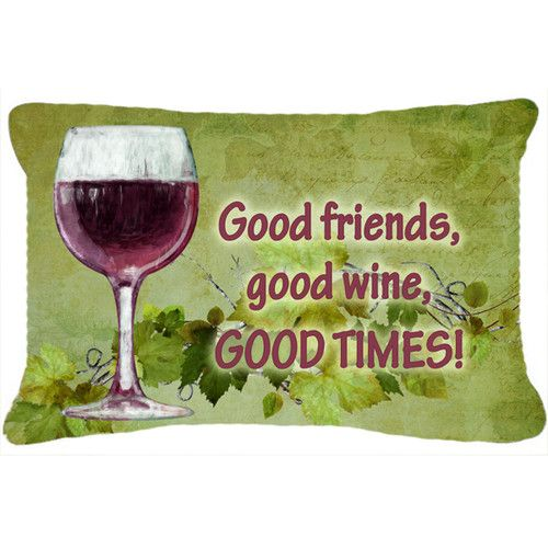 Good Friends Good Wine Good Times Indoor Outdoor Throw Pillow Wine Cooler Outdoor Throw Pillows Leash Holder