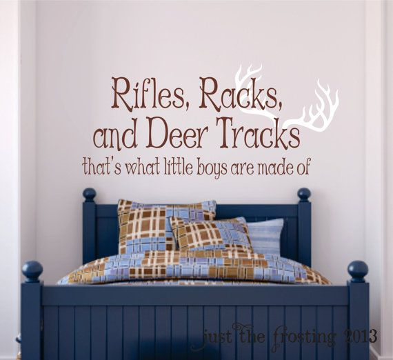 Awesome Rifles, Racks, Deer Tracks Boys Hunting Wall Decals   Little Boys Are Made  Of Children Wall Decal Vinyl Art   Nursery Wall Vinyl Decal Vinyl