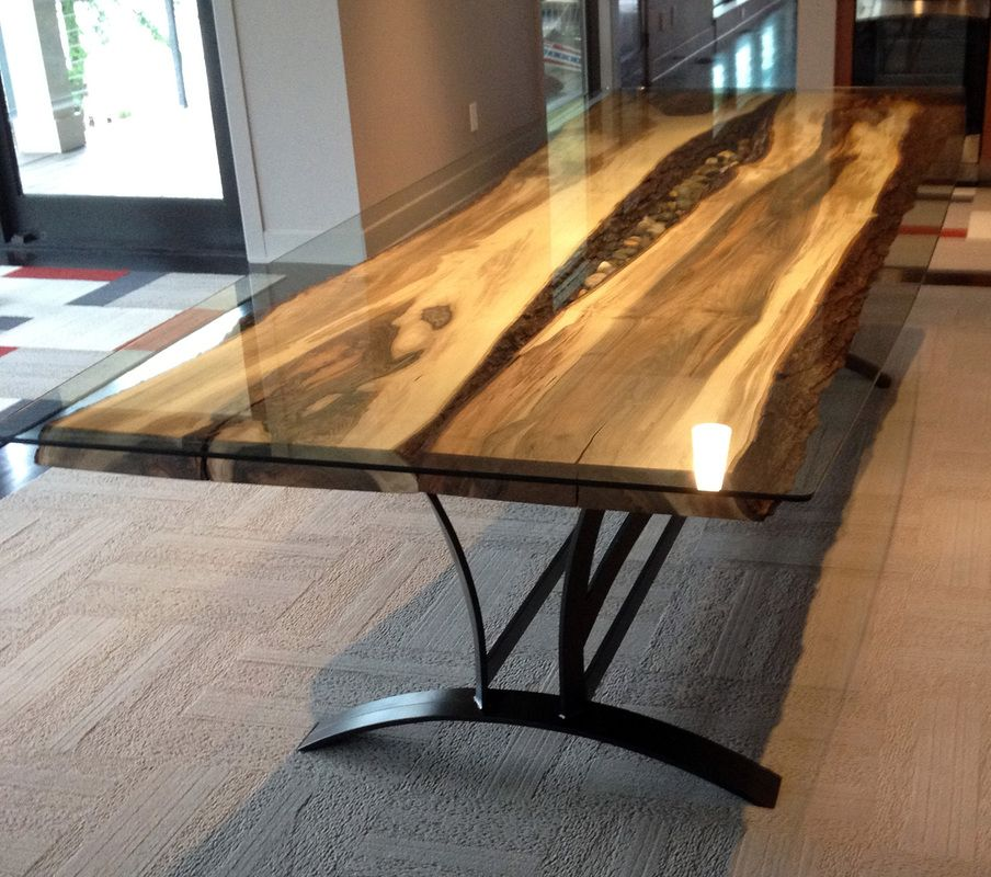 Modern Wood Kitchen Table on the river - steel root furniture, modern wood and metal