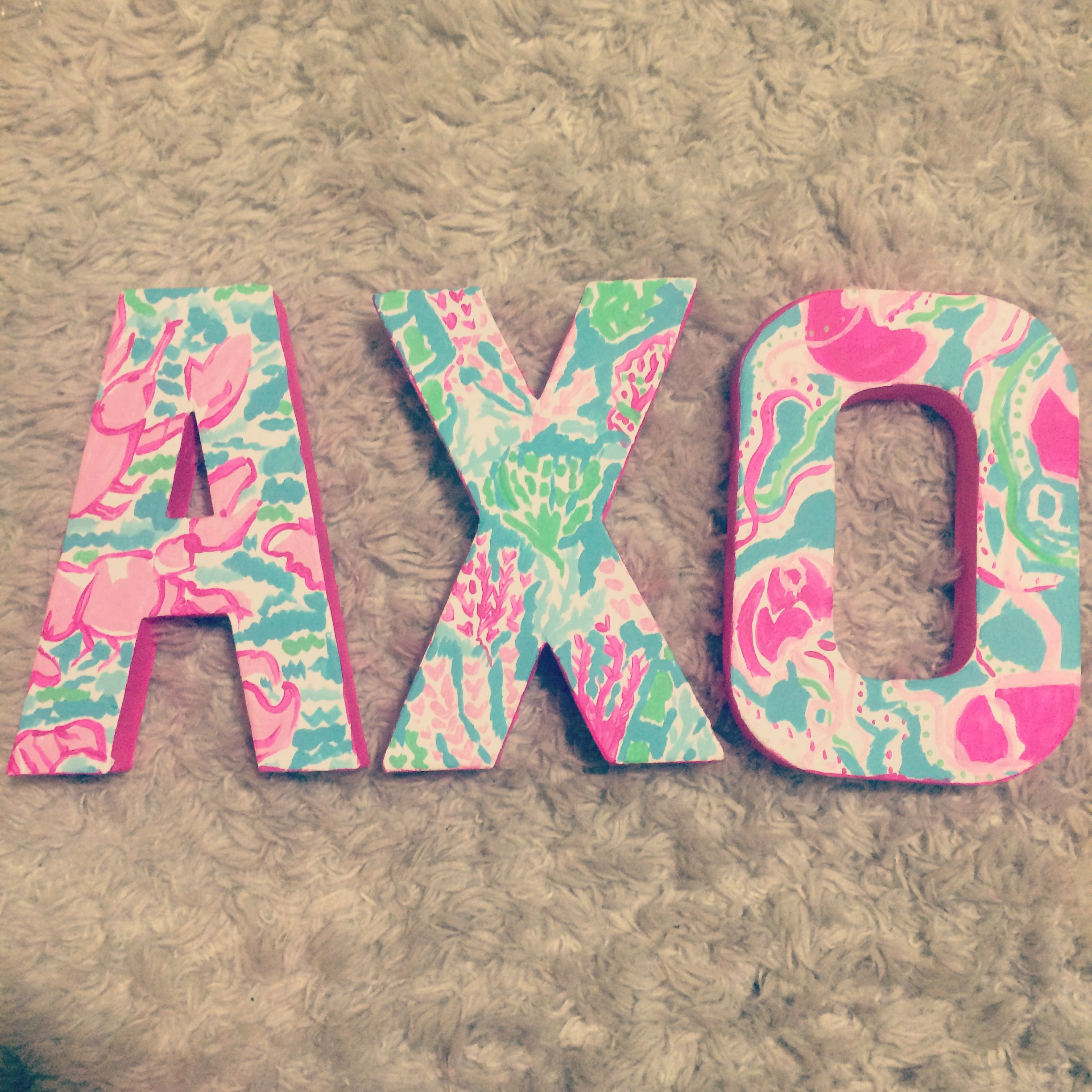 alpha chi omega painted lilly pulitzer sorority letters three prints all in the same colors