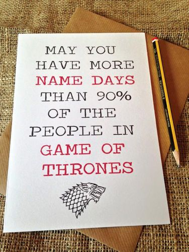 Birthday Card Game Of Thrones Name Days Blunt Novelty Funny Rude
