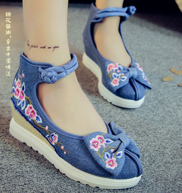 Womens Embroidered Floral Ballerina Flat Bowknots Cotton Dancing Loafer Shoes