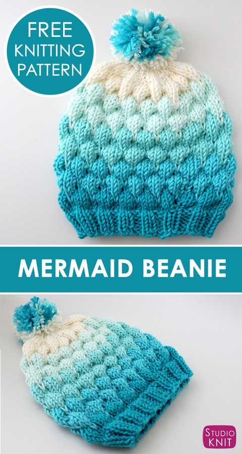 Bubble Stitch Beanie Hat Knitting Pattern by Studio Knit. #knittingpatternsfree