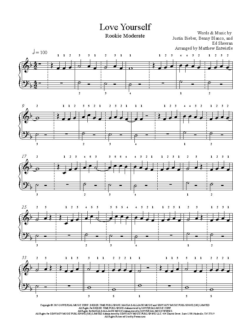 Love Yourself By Justin Bieber Piano Sheet Music Rookie Level Piano Sheet Music Sheet Music Piano Music