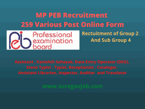 Mp Peb Recruitment 259 Various Post Online Form Online Form Recruitment Assistant Librarian