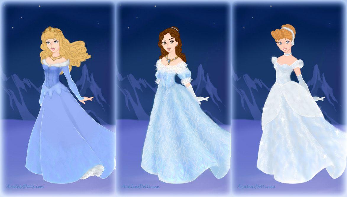 Aurora, Belle and Cinderella in blue by Arrelline on DeviantArt