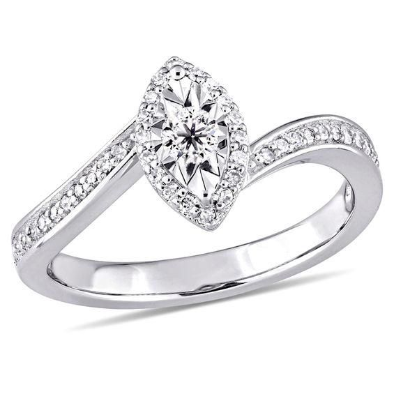 Zales 1/4 CT. T.w. Diamond Princess-Cut Bypass Frame Promise Ring in Sterling Silver f8SHIca7q