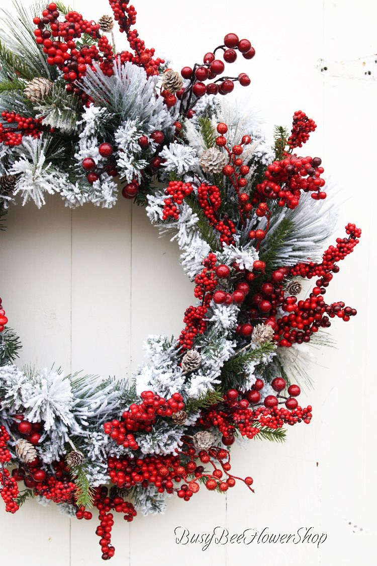 Flocked Winter Berry Christmas Wreath For Front Door Red Berry Wreath Rustic Christmas Wreath Christmas Wreaths Rustic Christmas Wreath Christmas Decorations