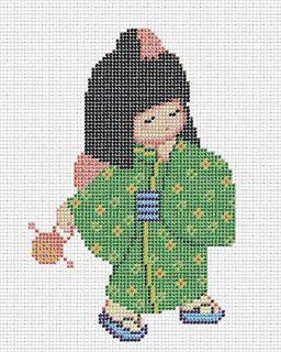 sandylandya@outlook.es  Lovely Japanese Kimono Girl - cross stitch pattern.