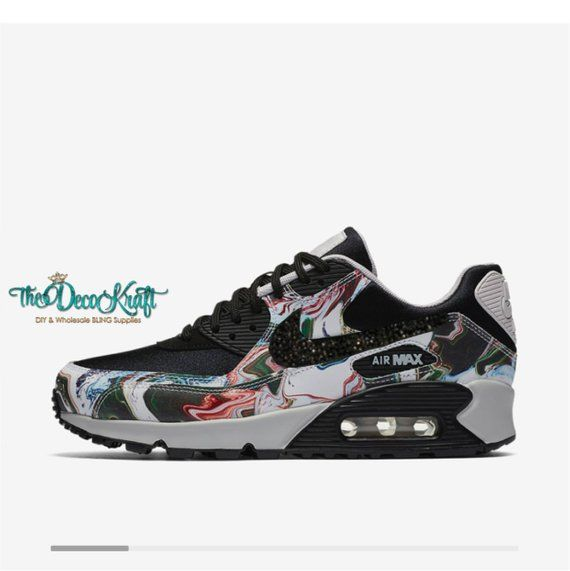 Womens Nike Air Max 90 Ultra Marble Black Vast Grey Black Custom Bling  Black Crystal Swarovski Sneak 6a90ae364b
