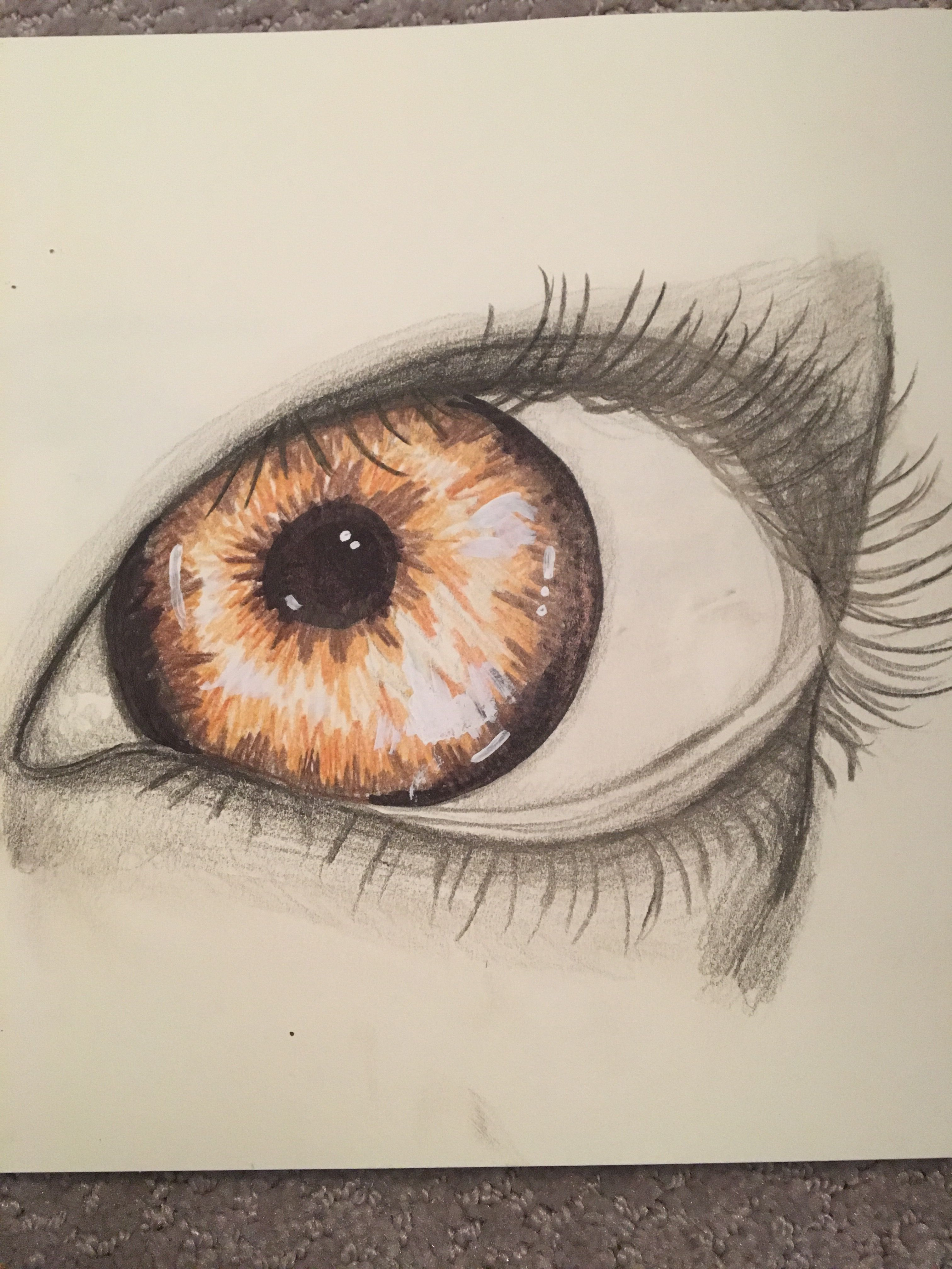 A sideways eye colored pencil drawing by jade hope you like it
