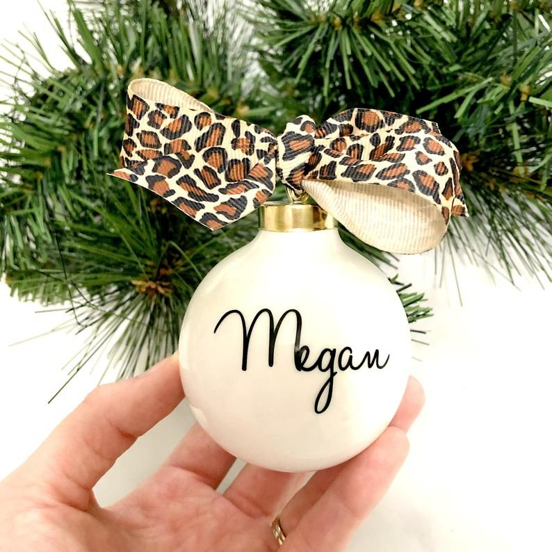 Personalized Christmas Ornament, Leopard Print Personalized Ornament, Christmas Gift Idea, Teacher Ornament, Friend Gift, Coworker Gift #teacherchristmasgiftideas