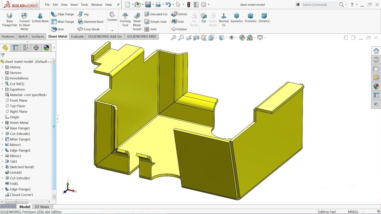 Solidworks Tutorial Basics Of Sheet Metal In 2020 Solidworks Tutorial Solidworks Sheet Metal Drawing