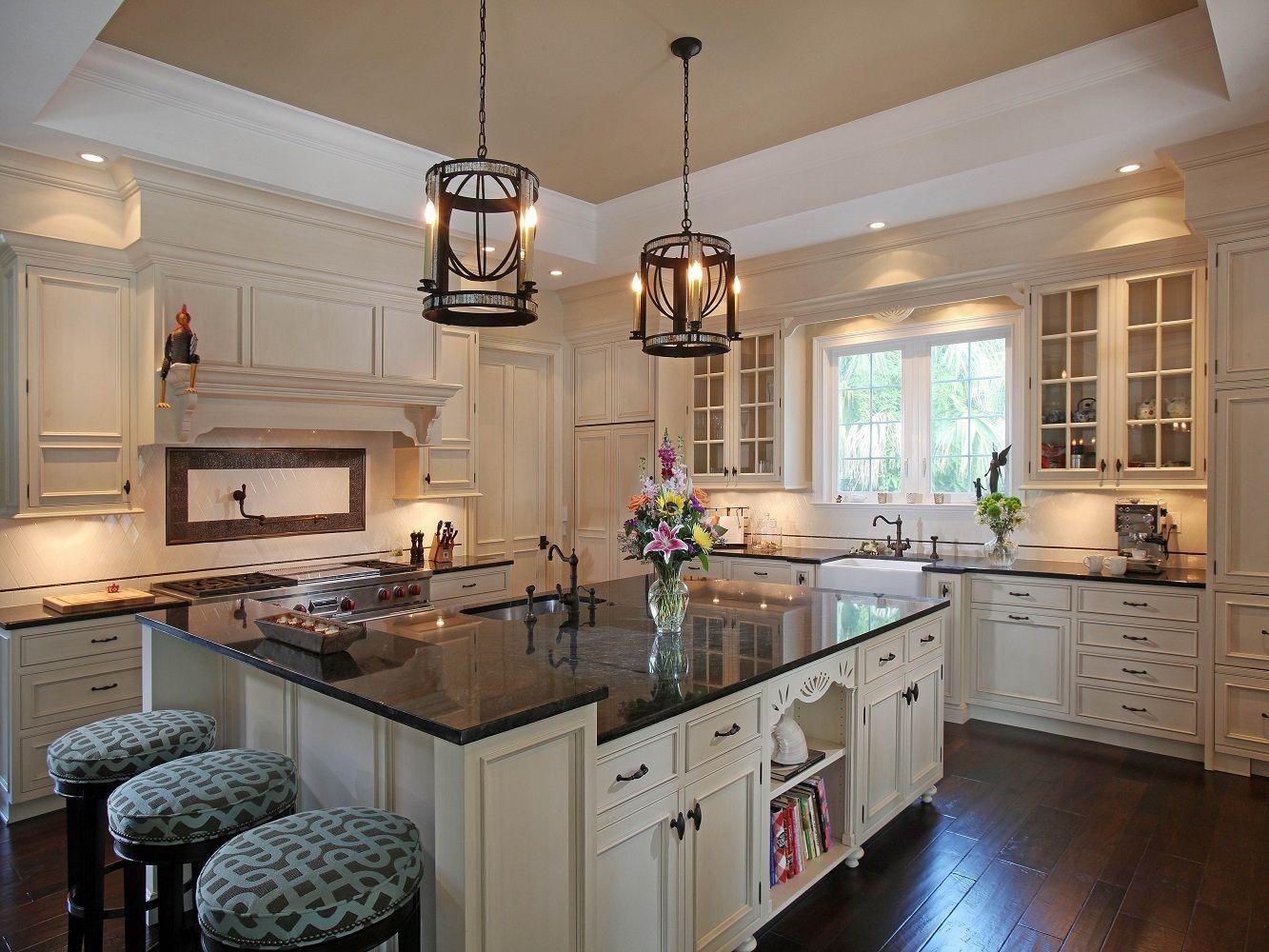 Uba Tuba With White Farmhouse Sink Granite Countertops Kitchen Cream Colored Kitchen Cabinets Granite Kitchen