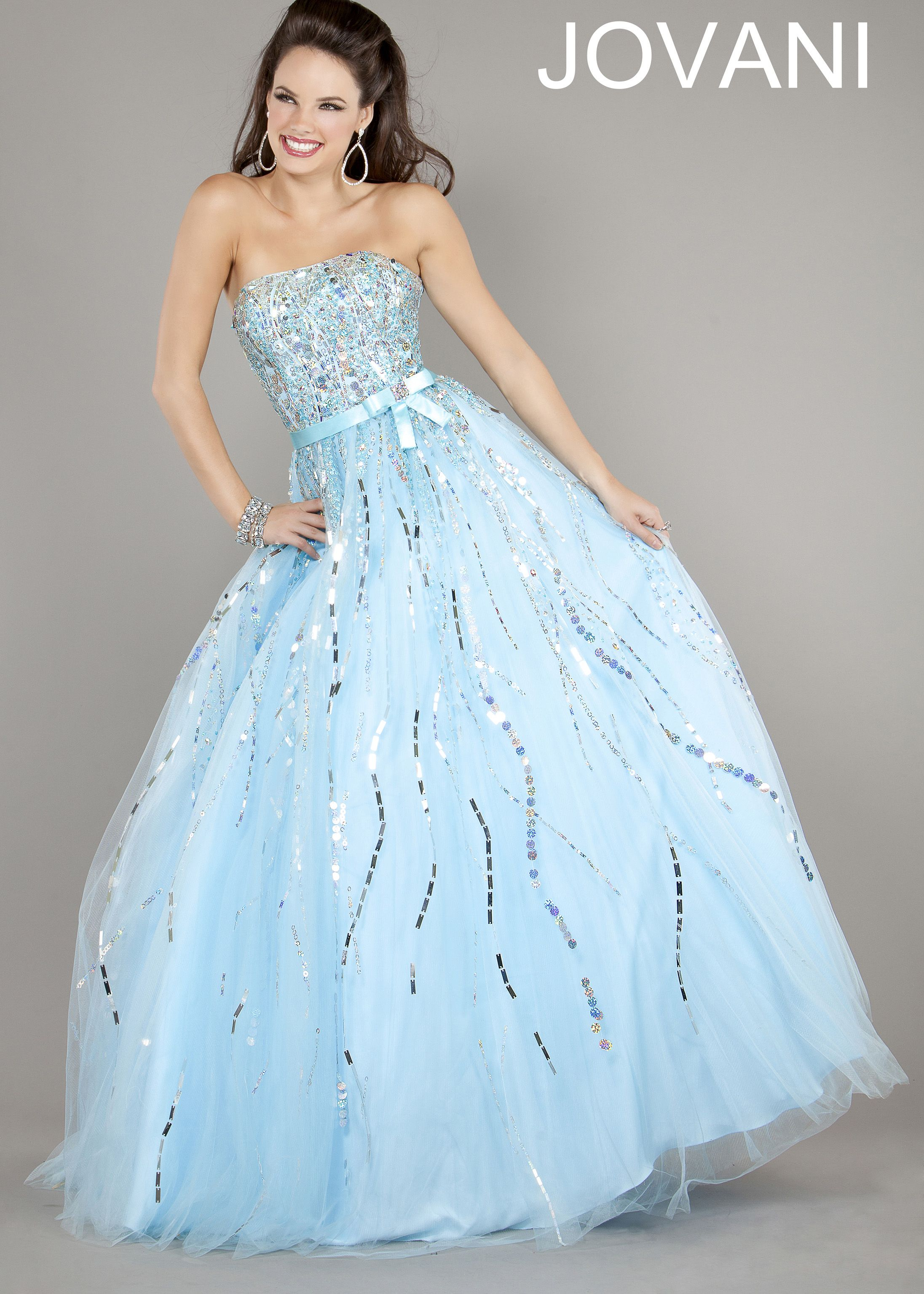 Free shipping for jovani light blue strapless ball gown prom
