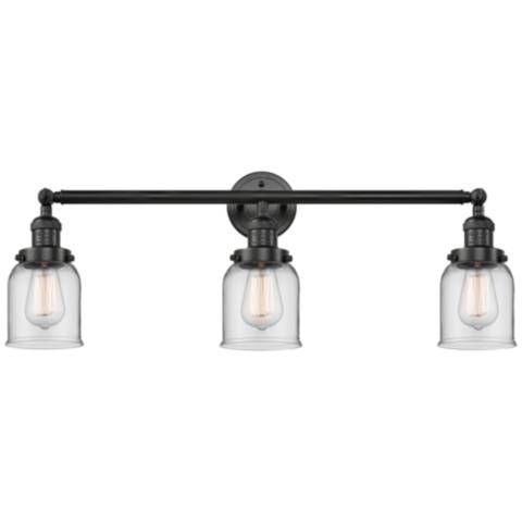 "Photo of Small bell 30 ""W matt black 3-light adjustable bathroom lamp – # 65G07 | Lamps Plus"