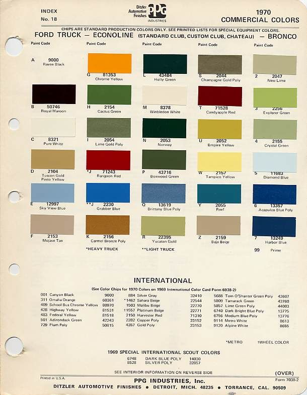 Master Picture List Of Original Colors Page 6 Classicbroncos