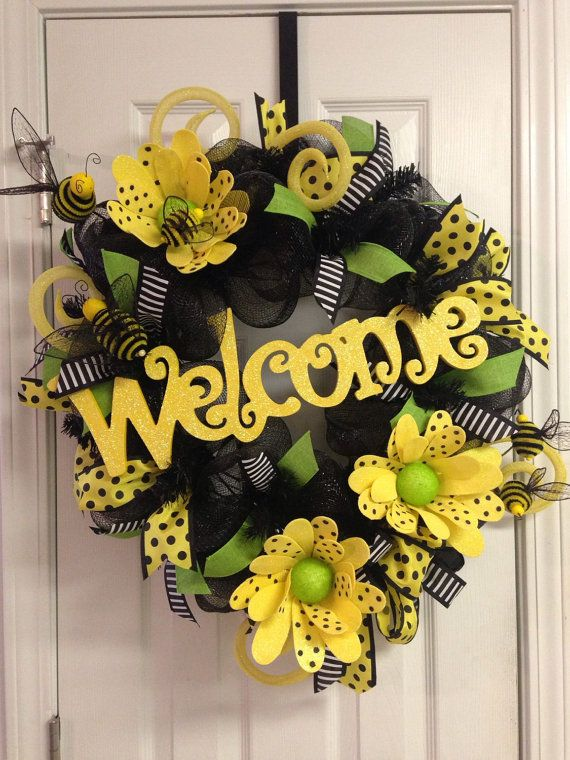Yellow Deco Mesh Wreath