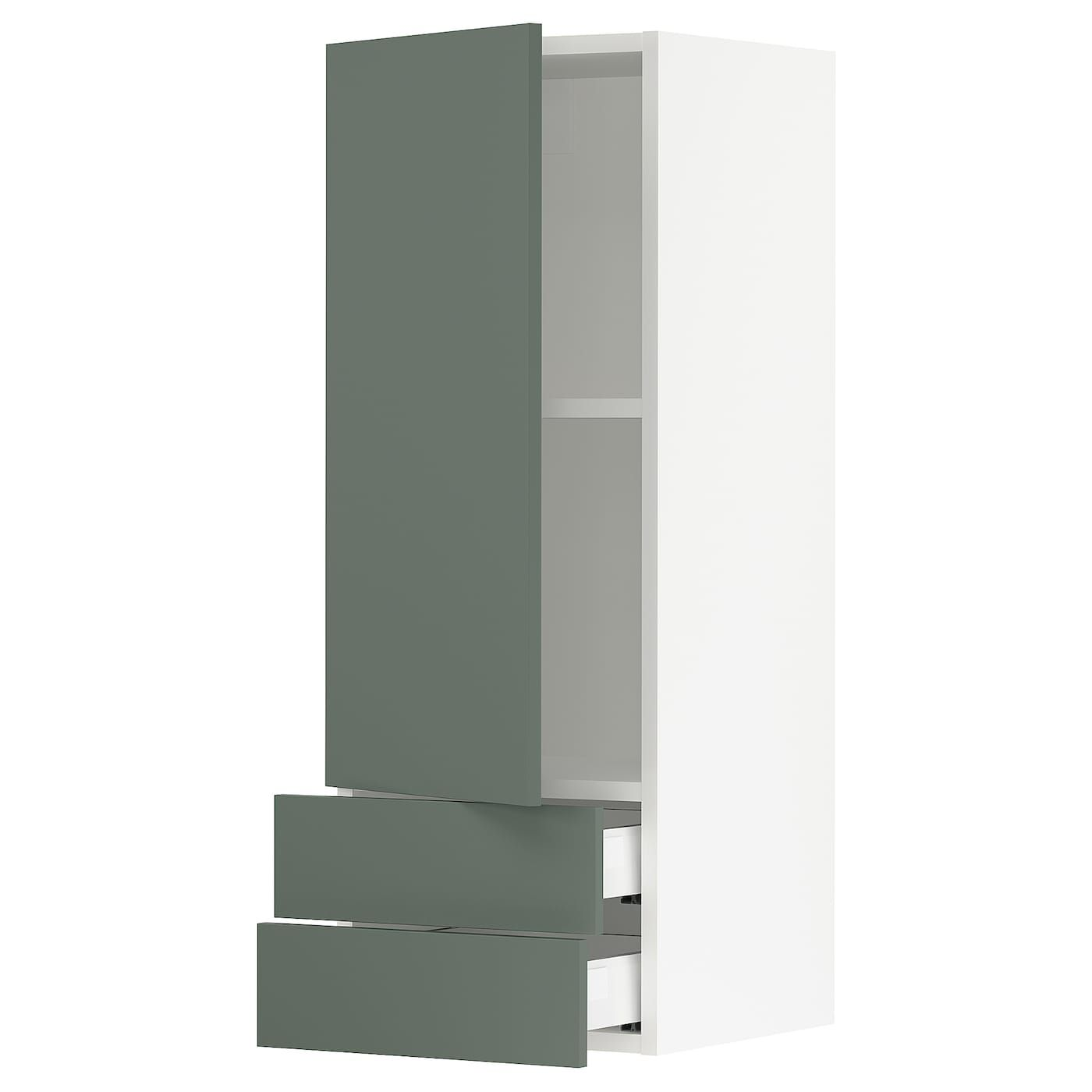 Sektion Maximera Wall Cabinet With Door 2 Drawers White Bodarp Gray Green 15x15x40 In 2020 Cabinet Doors Cabinet Tall Cabinet Storage