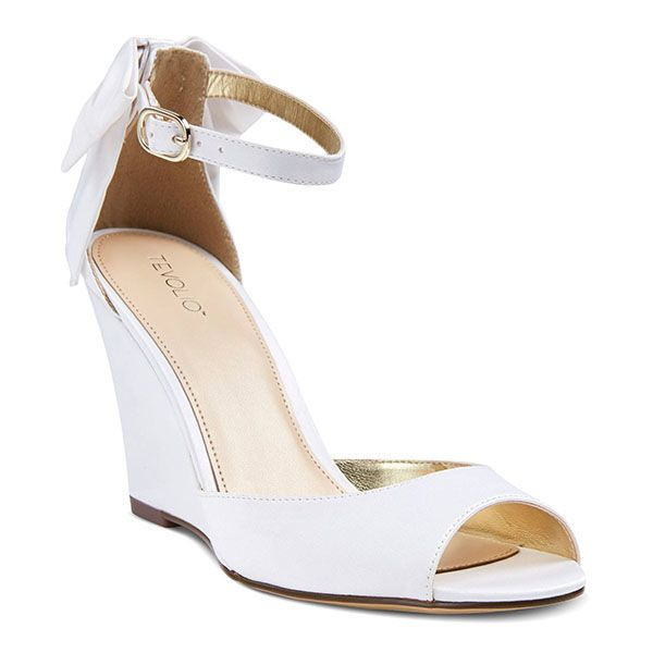 Comfortable Wedding Shoes To Dance The Night Away In Keep It Clic With Simple White Wedges These Simplistic Feature A 2 75 Heel