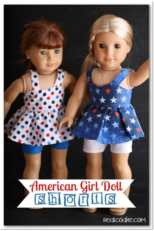 Pattern for doll clothes to make adorable American Girl Doll shorts. #AGDoll #AmericanGirlDoll #Sewing #Pattern #RealCoake