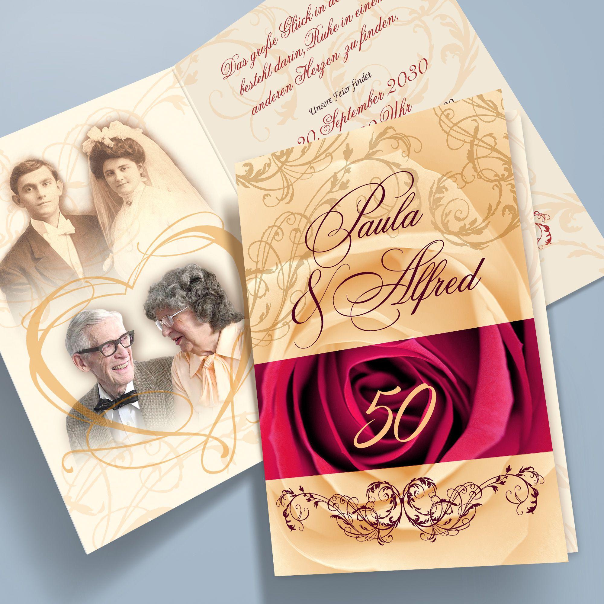 details zu einladungskarten goldhochzeit personalisiert