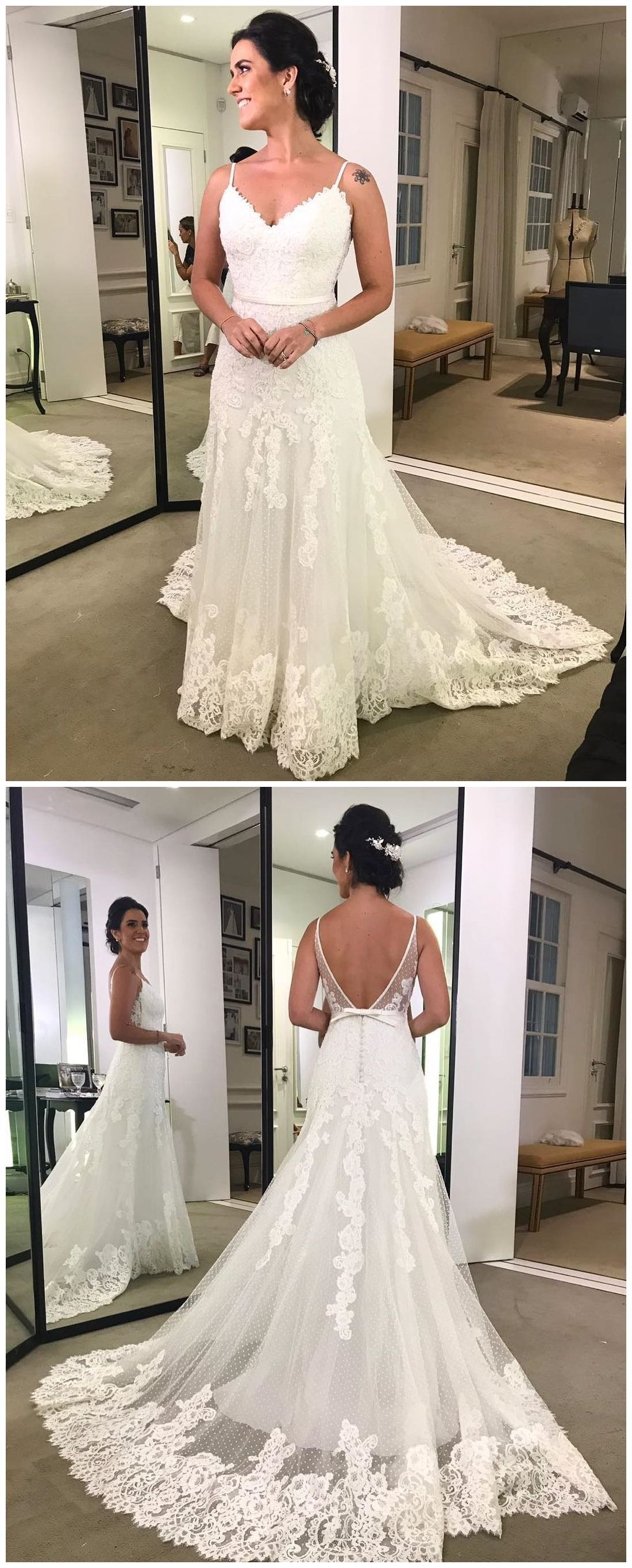 Discount distinct backless wedding dresses lace wedding dresses
