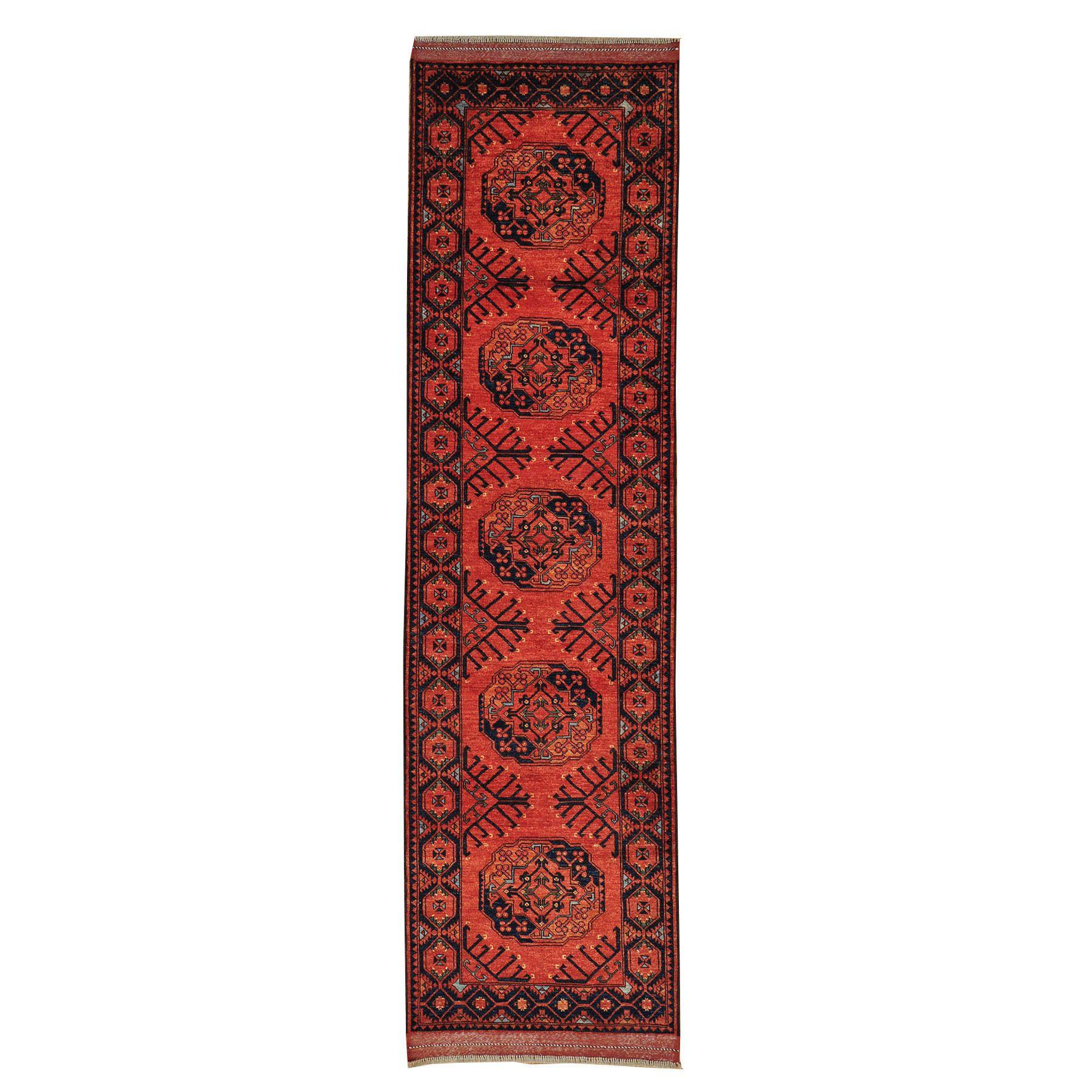 "1800getarug Runner Handmade Afghan Ersari Red Oriental Wool Area Rug (2'10 x 10'2) (Exact Size: 2'10"" x 10'2""), Size 3' x 10'"