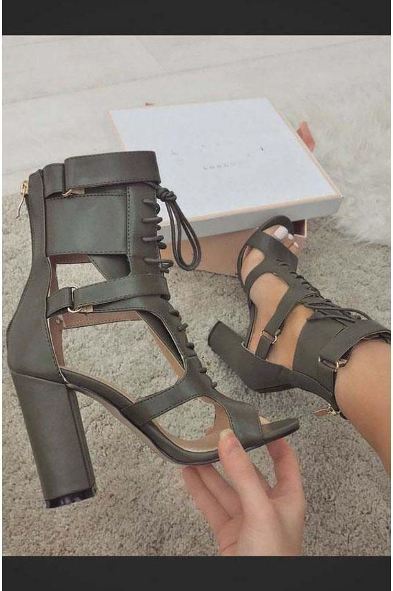 70fadecf05 Lace UP Ankle Wraps Open Toe High Chunky Heels Sandals in 2019 ...