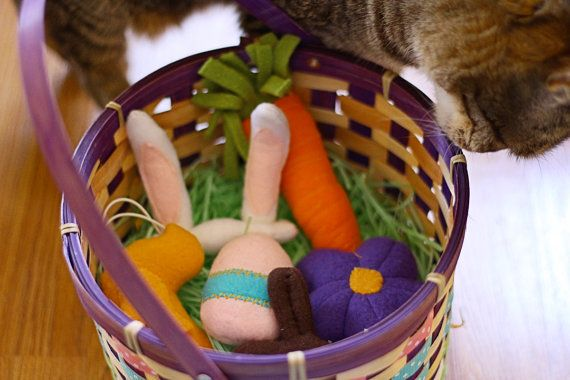 Easter Themed Catnip Toys and Cat Bunny Ears Costume by Miss Stitchin' Witch via Etsy