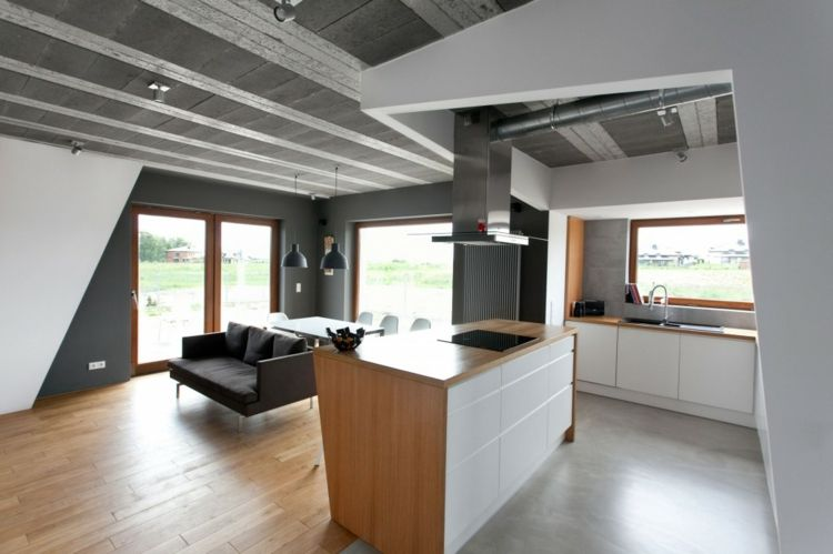 Déconstructivisme design intérieur cuisine bois blanc concept plafond