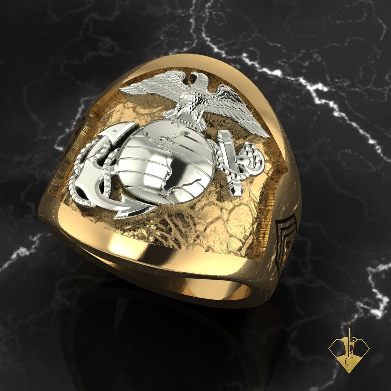 USMC MARINE SPIRIT DE CORPS TWO TONE 10K GOLD RING in 2020