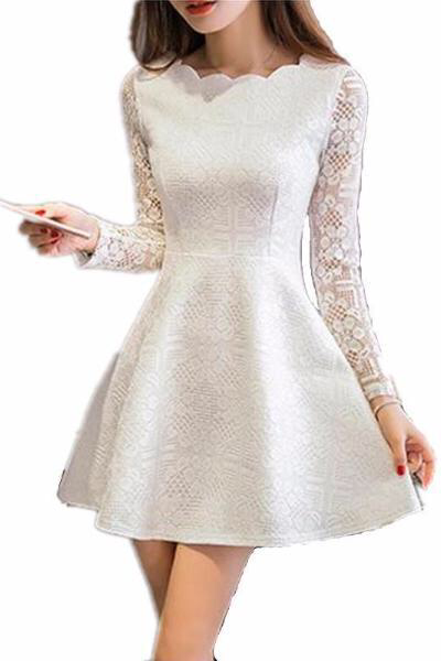 Lace Casual Dress Long Sleeve Party Dresses White Black Pink Mini Dress Please Use The Size Chart For AMore Accurate Fit. Waistline: Natural Decoration: None Sleeve Style: Regular Pattern Type: Solid Style: Casual Material: Polyester,Lace Dresses Length: Above Knee, Mini Neckline: O-Neck Silhouette: A-Line Sleeve Lengt