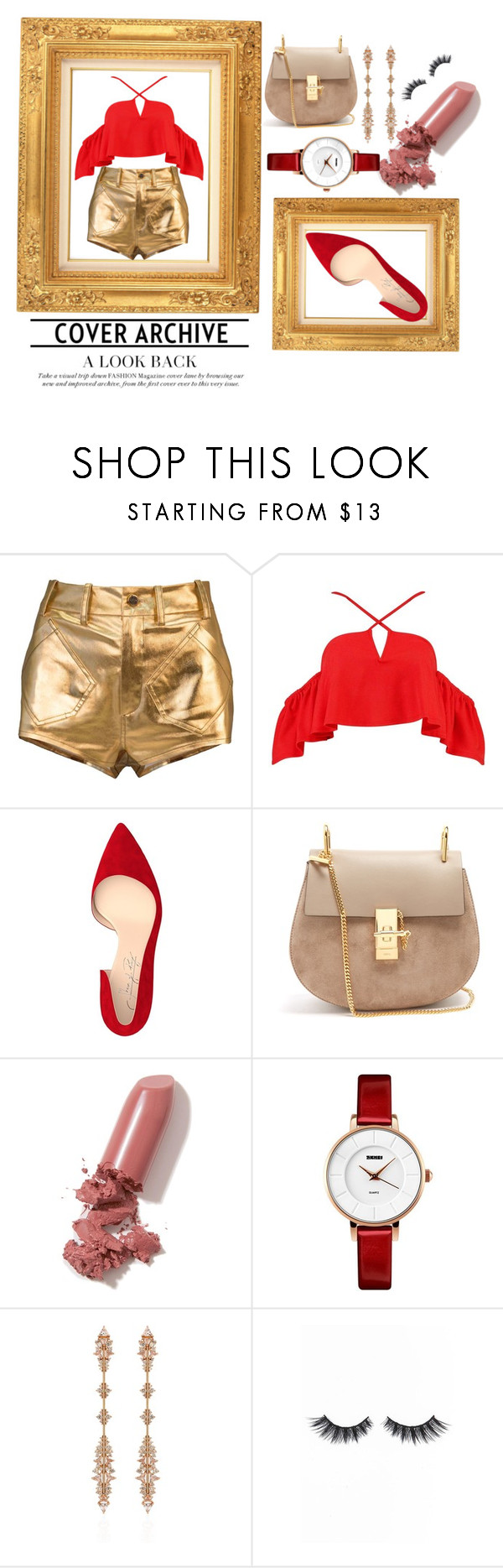 """""""YOU ARE GOLD"""" by inlovewithfashionnn ❤ liked on Polyvore featuring Boohoo, Shoes of Prey, Chloé, LAQA & Co., Fernando Jorge and Violet Voss"""