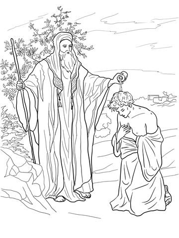 Samuel Anoints Saul As King Coloring Page Ausmalbilder