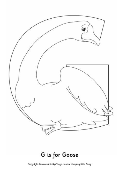 G Is For Goose Colouring Page Coloring Pages Abc Coloring Pages