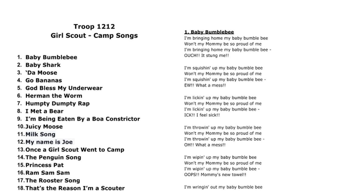 Lyric bumble bee song lyrics : Troop 1212 Girl Scout - Camp Songs Baby Bumblebee Baby Shark 'Da ...