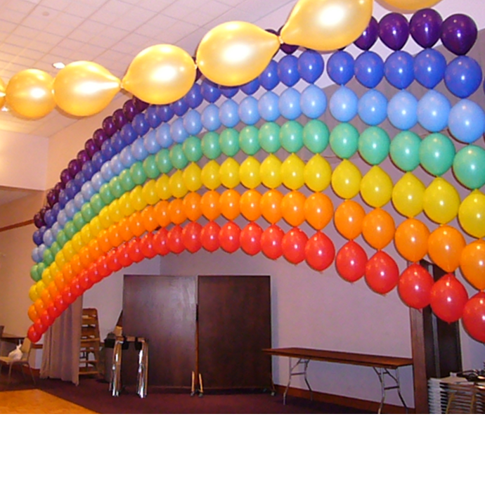 Rainbow balloon wall might take a lot of time but i for Balloon decoration on wall for birthday