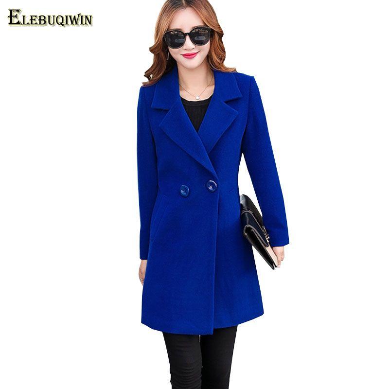 b262c34c1d1 S-4XL Winter Plus Size Women s Woolen Jacket 2018 Temperament Medium long  Solid Long sleeve