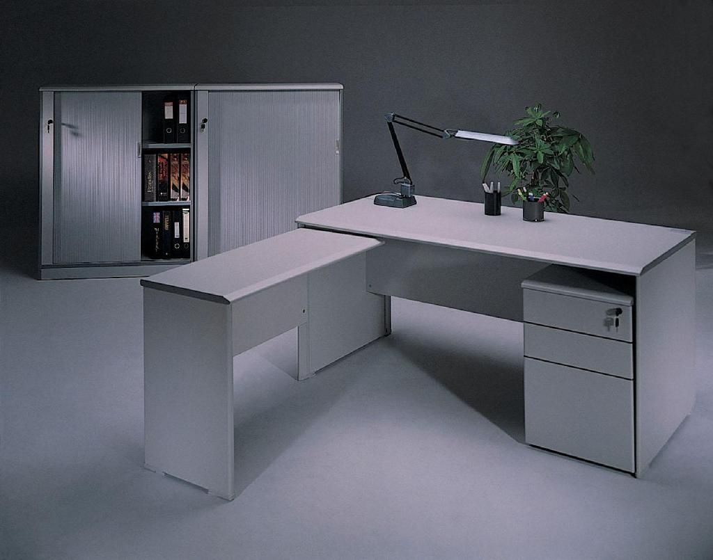 Contemporary White Wood L Shaped Office Table Desks ...