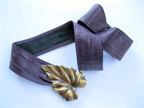 Purple Leather Belt, Brass Leaf Buckle, Genuine Leather, by mailordervintage on etsy