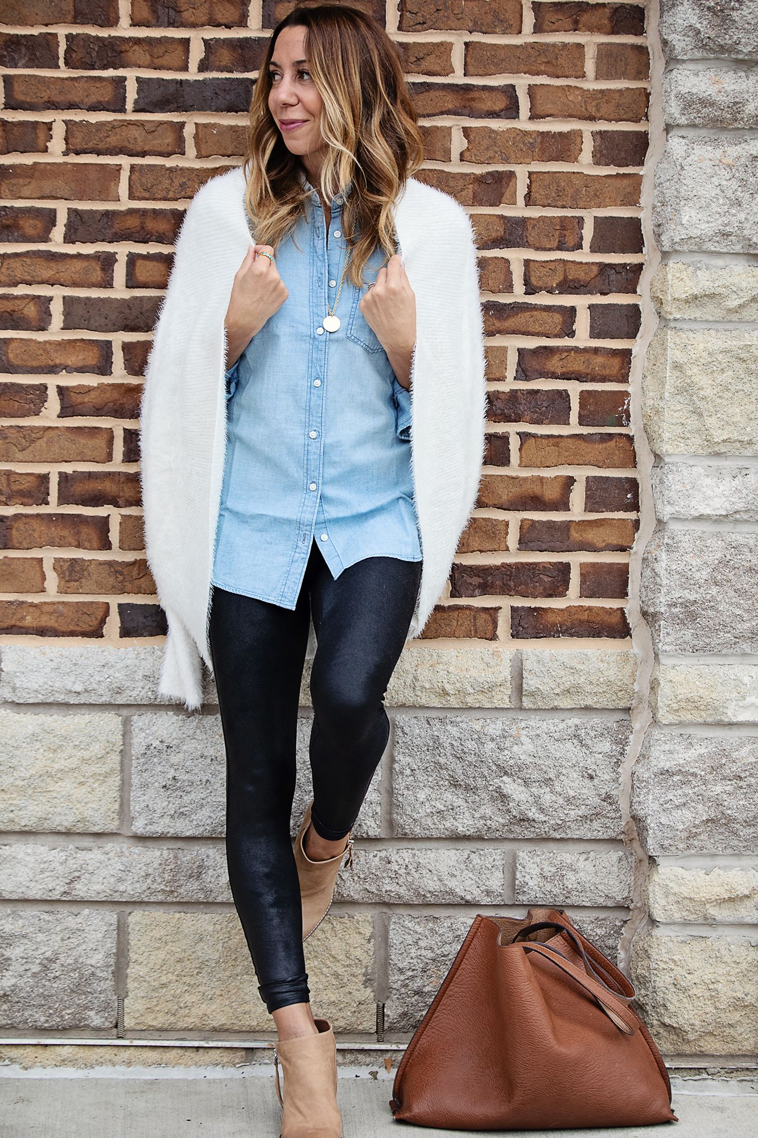 the motherchic wearing leather leggings chambray and cardigan 23bbfefbd