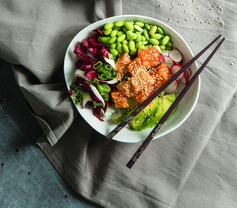 Homemade Poke bowl with salmon