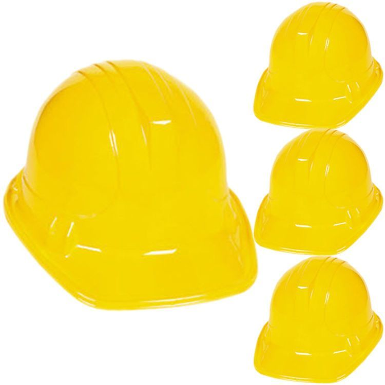 Pack Yellow Construction Hats Toy For Kids Dress Up Theme Party Fun Pack 12